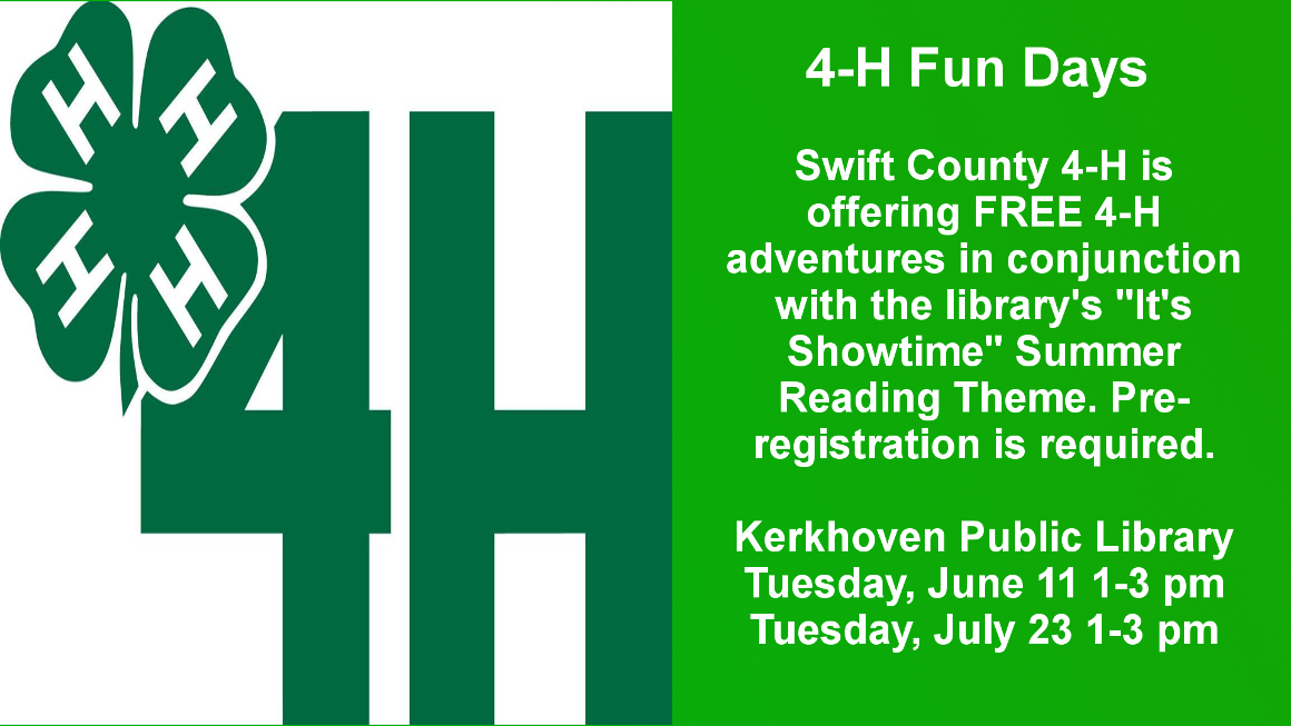 Come join us for 4-H Fun Days June 11 and July 23 from 1-3 PM. Kids do not have to be 4-H members in order to participate but will have to pre-register.