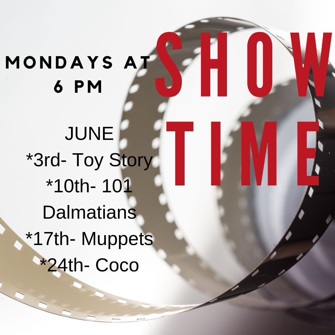 All summer long we will have free family movies showing at 6 pm every Monday! Popcorn and drinks will be provided. The movies are June 10: 101 Dalmatians, June 17: Muppets, and June 24: Coco.
